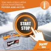 Povver 70 Amper (Ah) Start Stop Agm Akü (Mutlu Akü Üretimidir)