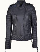 Venus Siyah Biker Bayan Deri Ceket