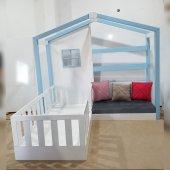 Montessori Yatak Sitil Genc Odası Beyaz Mavi Komple Mdf İmalattan Satış