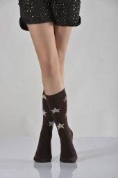 Tam Havlu Yıldız Desenli Bayan Soket Çorabı Kahverengi B Art051