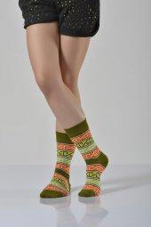Kadın Halı Desen Soket Çorabı Yeşil B Art015