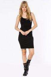 Gerona Beli Tül Detaylı Siyah Elbise 160101 1