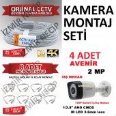 Avenir Kamera 4 Adet 100mt Kablo 8 Adet Hazır Bnc Hazır Set