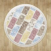 Karışık Renk Pembe, Mavi, Sarı Patchwork Yuvarlak Halı Hs9310yc