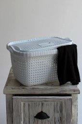 örgü Desenli Beyaz Rengi 2li Kapaklı Çamaşır Sepet...