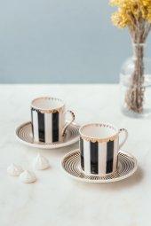 Porselen Siyah Beyaz Lux 2lı Fincan Takımı