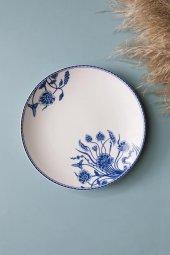 Mavi Beyaz Çiçek Figürlü Seramik Tatlı Ve Kahvaltı...