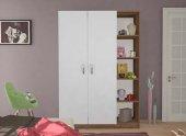 Gardırop Denge 120 Cm 2 Kapı Raflı Beyaz Ceviz