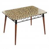 Evform Asha Rustik Camlı Ahşap Ayaklı Salon Yemek Mutfak Masası