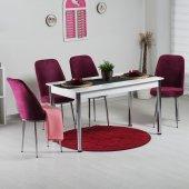 Evform Gold 4 Sandalyeli Taytüyü Kumaş Döşeme Mutfak Masa Takımı