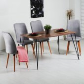 Evform Stork Gri Taytüyü 4 Sandalyeli Tel Ayaklı Masa Takımı