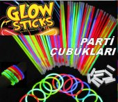 100 Ad Işıklı Fosforlu Çubuk Glow Stick Parti Renkli Çubukları Renkli Çubuk