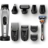 Braun Mgk 7020 Erkek Bakım Kiti Autosense Teknoloji Çelik Başlık Gümüş&siyah Kablosuz Islak&kuru 10in1 Şekillendirici + Gillette Hediye
