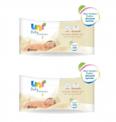 2 Adet Uni Baby Yenidoğan Islak Pamuk Mendil 40 Yaprak