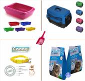 Kedi Taşıma Kumu Açık Tuvaleti Küreği Ve Tasması Başlangıç Set