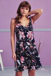 çiçek Desen Detaylı Siyah Elbise Pijama Bb 1011