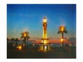 Dekoratif Led Işıklı İzmir Saat Kulesi Kanvas Tablo Işıklı Tablo