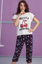 Kiraz Desen Detaylı Dantelli Kaprili Pijama Takımı Bb 1028