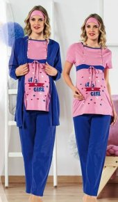Polkan 13074 Bayan 3lü Hamile Lohusa Pijama Takımı