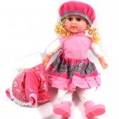 Güzel Yüzlü Bez Bebek Müzikli Sarışın Pembe Renk 40cm