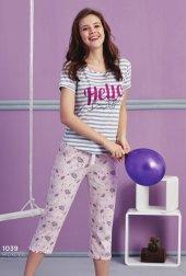 çizgili Desen Detaylı Şortlu Pijama Bb 1039