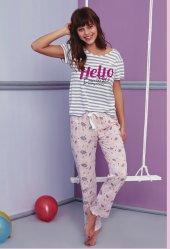 çizgi Desen Detaylı Pijama Takımı Bb 1040