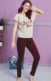 Beyaz Noktalı Desen Detaylı Pijama Takımı Bb 1055