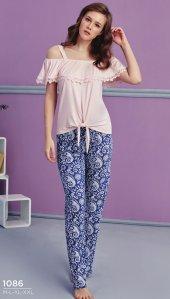 Desen Detaylı Dantelli Pijama Takımı Bb 1086