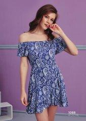 Desen Detaylı Straplez Elbise Pijama Bb 1088