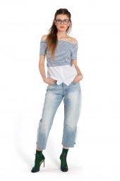 Diana Çizgili Gömlek Detaylı Kısa Kollu Tişört 160226 2