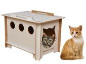 Ahşap Kedi Evcil Hayvan Minderi Yatak Evi Yatağı Kulübesi Yuvası