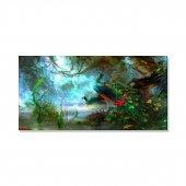 Tavuskuşları Ve Doğa Kanvas Tablosu 80 Cm X 160 Cm