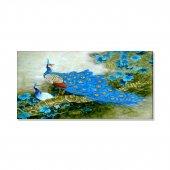 Mavi Çiçekler Tavuskuşu Kanvas Tablosu 60 Cm X 120 Cm
