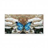 Mavi Kelebek Bej Çiçek Kanvas Tablosu 70 Cm X 140 Cm