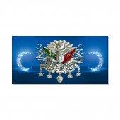 Led Işıklı Osmanlı Armalı Mavi Hilal Tablosu 30 Cm X 60 Cm