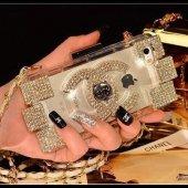 Chanel Parfüm Şişesi Modeli İphone 5 & 5s Çantalı Askılı Kılıf Sarı Taşlı