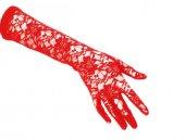 Dantelli Gelin Eldiveni Kırmızı Uzun
