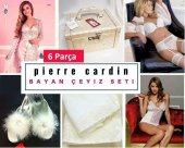 Pierre Cardin Bayan Çeyiz Nişan Seti 6 Parça Gecelik Sandık Bohça