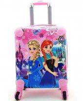 Prenses Abs Kırılmaz Çekçekli Çocuk Valizi Pembe