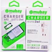 Mubay Samsung Lg Htc Hızlı Şarj Aleti Şarj Cihazı Kablo + Adaptör