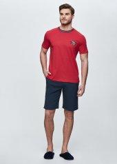 Dagi Erkek Süprem Polyester O Yaka Şort Takımı Kırmızı Melanj E0219y0020kır Mel