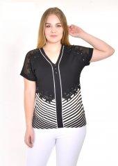 Flaş Çizgi Ve İşleme Detaylı V Yaka Büyük Beden Bluz 6166 Lacivert Siyah