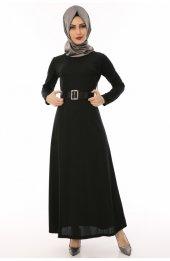 Kemerli Tesettür Elbise 3010 Siyah