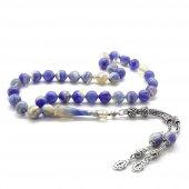 925 Ayar Gümüş Püsküllü Küre Kesim Hareli Açık Mavi Sıkma Kehribar Tesbih
