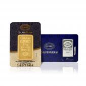 20 Gram 24 Ayar Külçe Altın + 20 Gram Külçe Gümüş