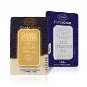 100 Gram 24 Ayar Külçe Altın + 100 Gram Külçe Gümüş