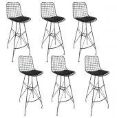 Kenzlife Kafes Tel Bar Sandalyesi Zengin Syh 6 Lı Set (Altı)