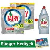 Fairy Platinum Bulaşık Kapsülü Limon 90x2 Yıkama + Sıvı + Sünger