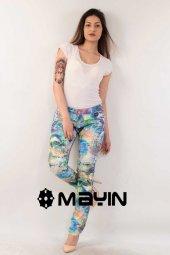 çiçek Desenli Rengarenk Kamuflaj Kadın Kot Pantolon Full Likralı