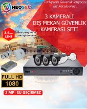 3 Kameralı (Dış Mekan) Güvenlik Kamerası Seti Hd1080p